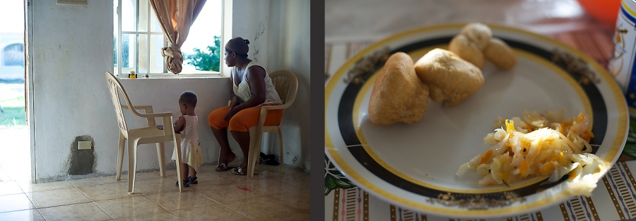 A Jamaican mother watches her children leave to school - breakfast on the right.